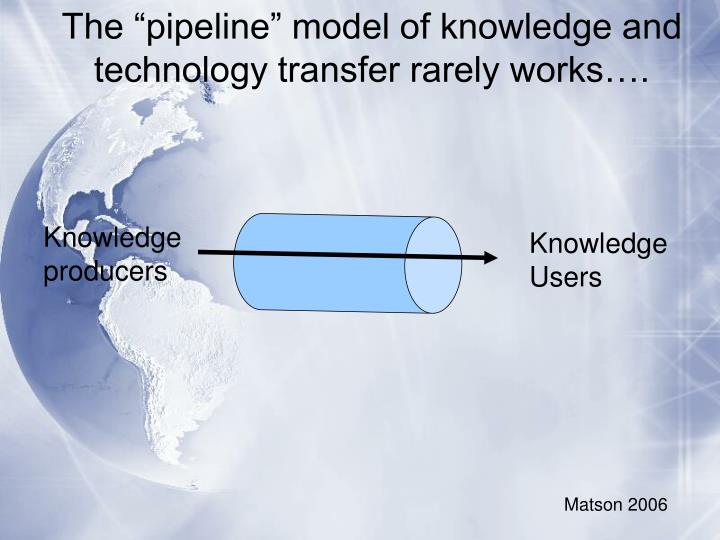 "The ""pipeline"" model of knowledge and technology transfer rarely works…."