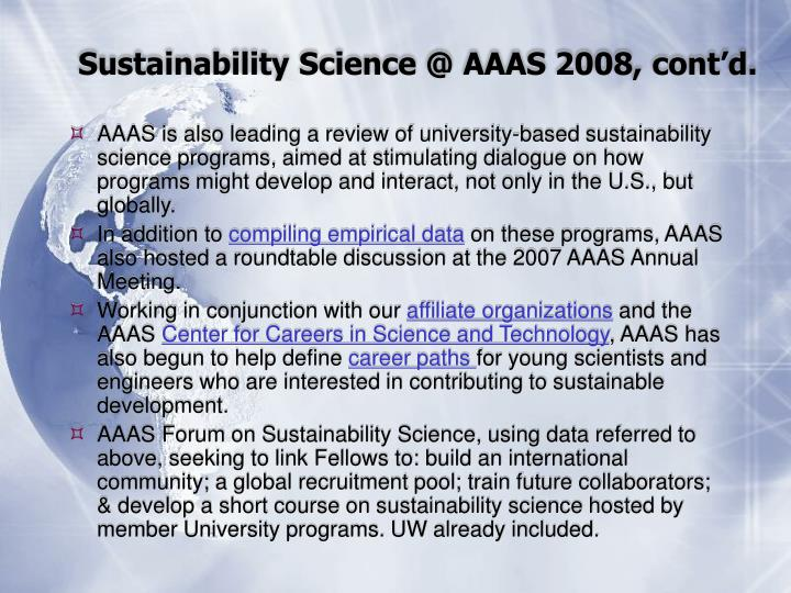 Sustainability Science @ AAAS 2008, cont'd.