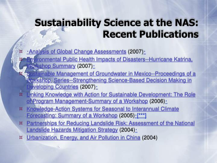 Sustainability Science at the NAS: Recent Publications