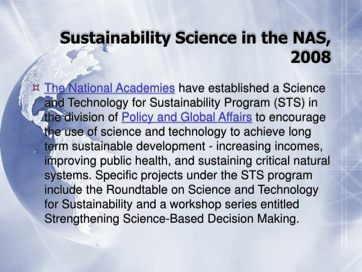 Sustainability Science in the NAS, 2008