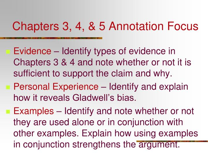 Chapters 3, 4, & 5 Annotation Focus