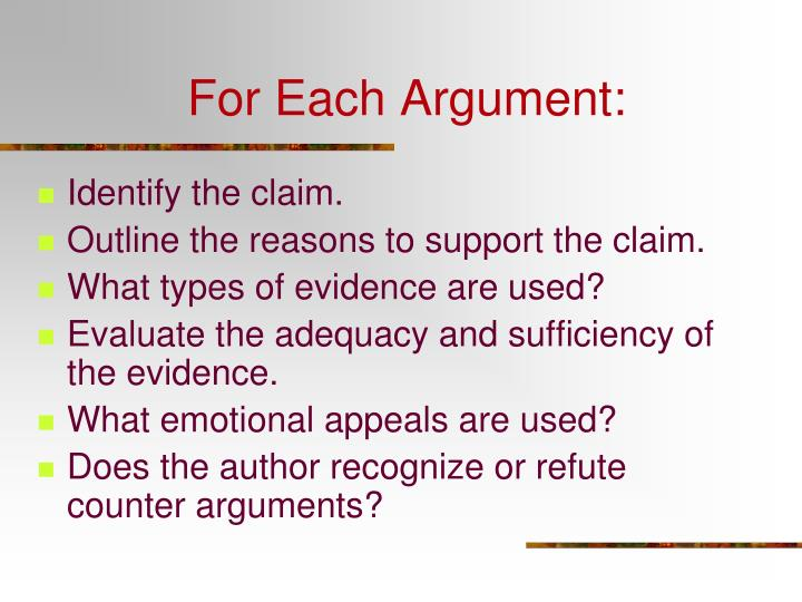 For Each Argument:
