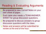 reading evaluating arguments