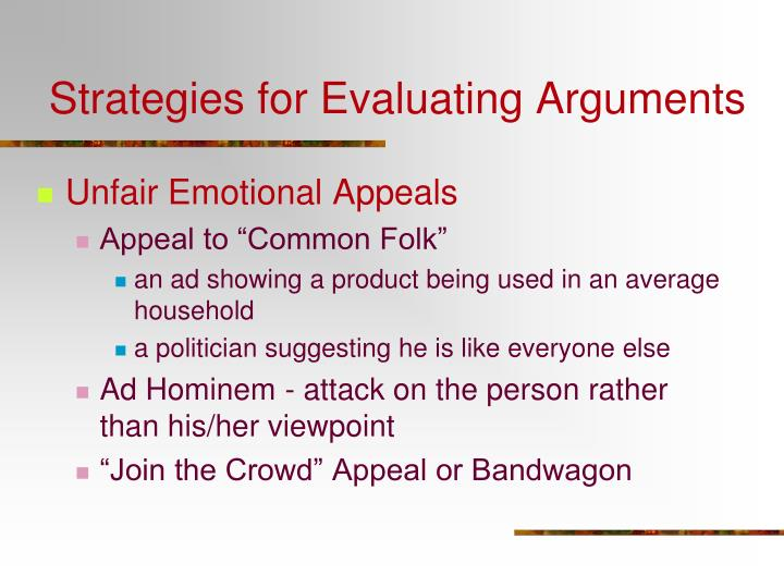 Strategies for Evaluating Arguments