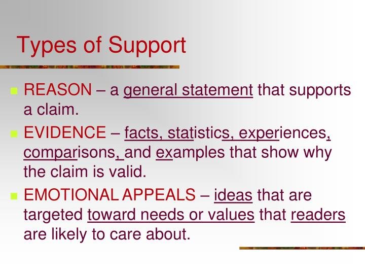 Types of support