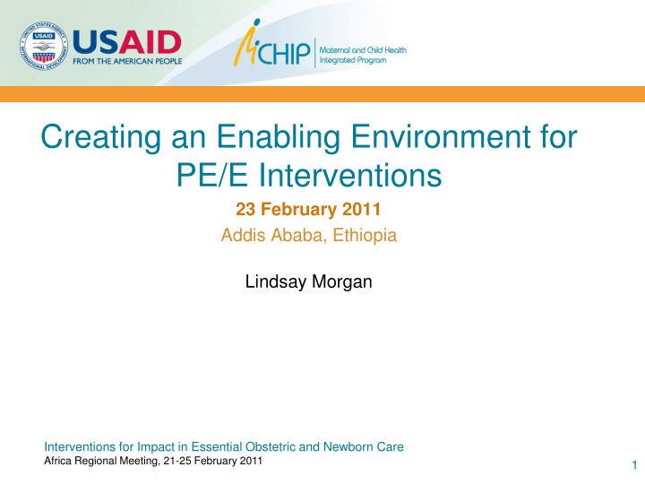 Creating an Enabling Environment for PE/E Interventions