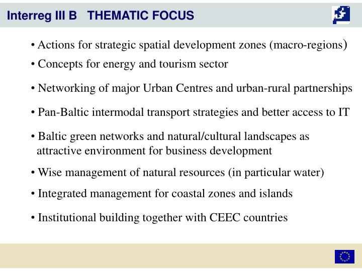 Actions for strategic spatial development zones (macro-regions