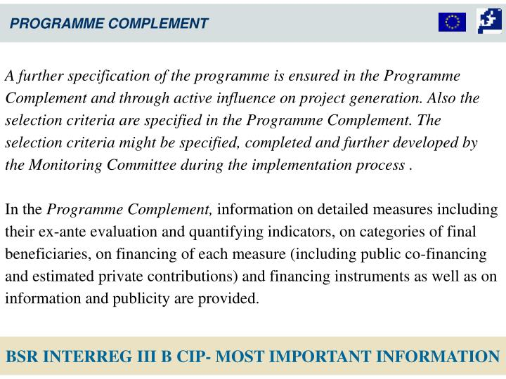 PROGRAMME COMPLEMENT