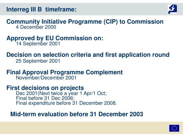 Interreg III B  timeframe: