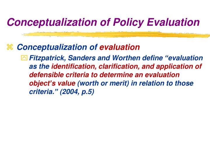Conceptualization of policy evaluation