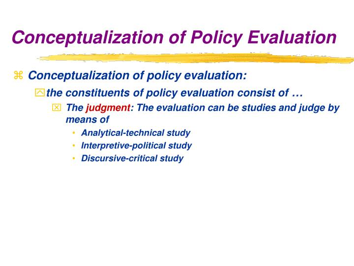 Conceptualization of policy evaluation: