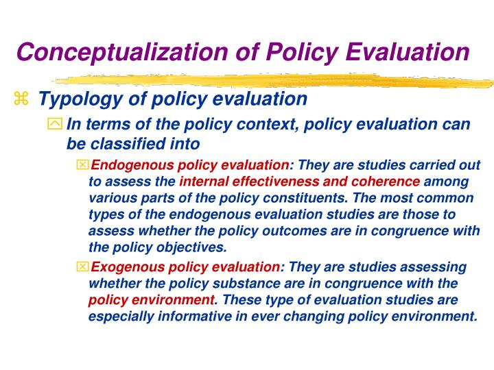 Typology of policy evaluation