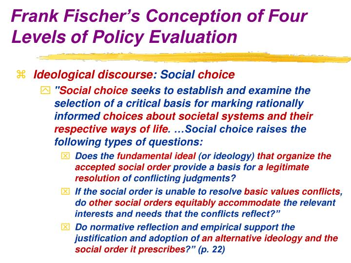 Frank Fischer's Conception of Four Levels of Policy Evaluation