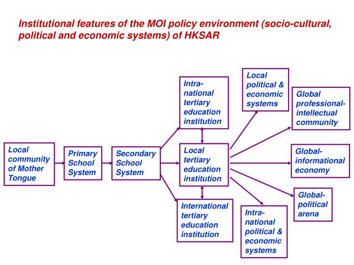 Institutional features of the MOI policy environment (socio-cultural, political and economic systems) of HKSAR