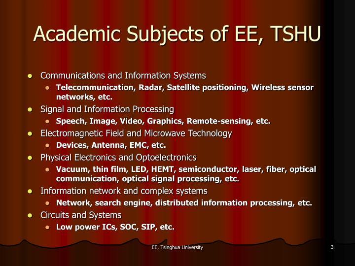 Academic Subjects of EE, TSHU