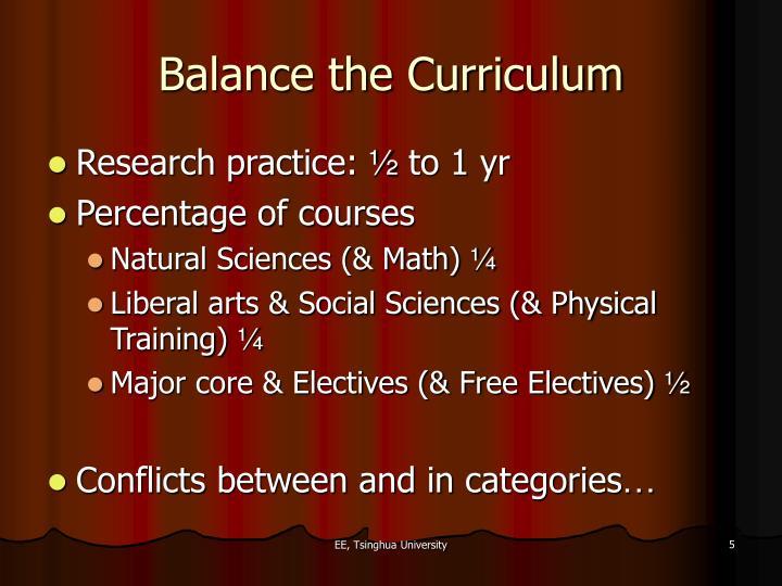 Balance the Curriculum