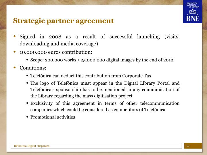 Strategic partner agreement