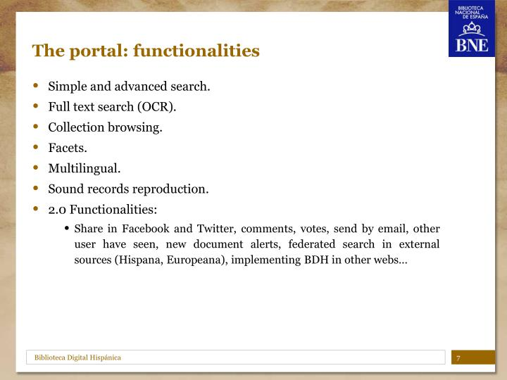 The portal: functionalities