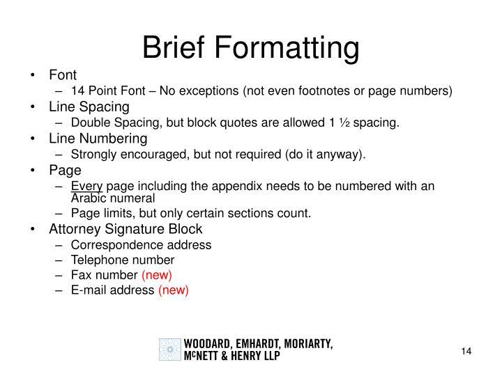 Brief Formatting