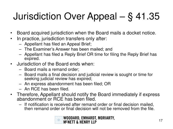 Jurisdiction Over Appeal – § 41.35
