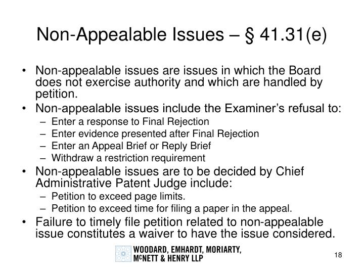 Non-Appealable Issues – § 41.31(e)