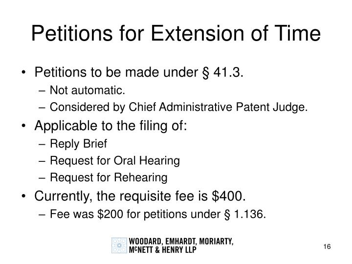 Petitions for Extension of Time