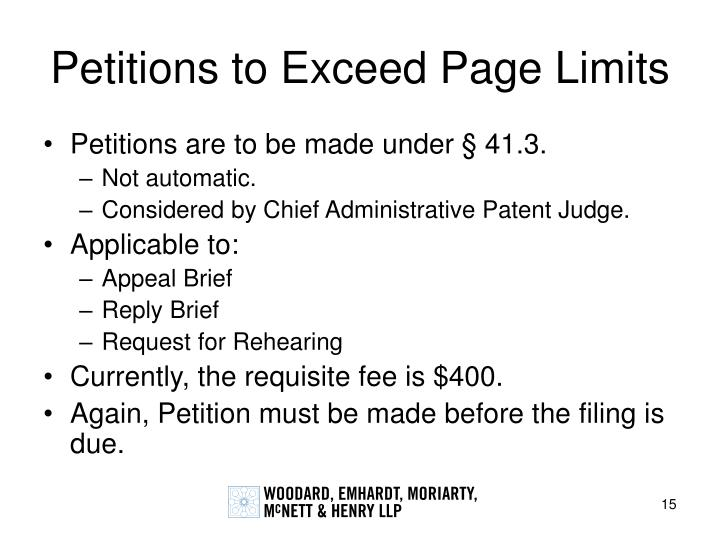 Petitions to Exceed Page Limits