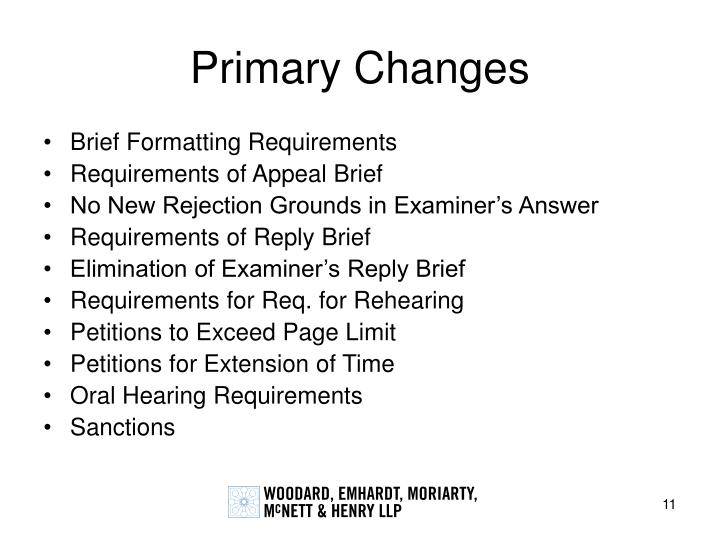 Primary Changes