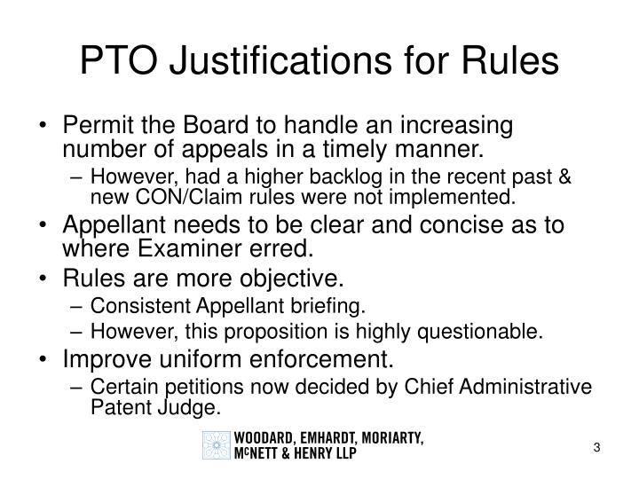 Pto justifications for rules