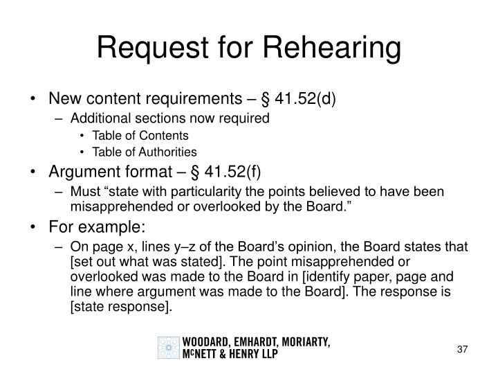 Request for Rehearing