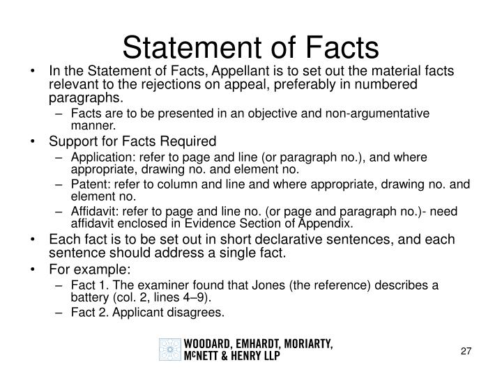 Statement of Facts