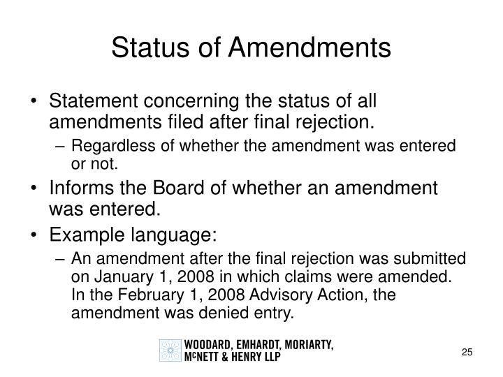 Status of Amendments