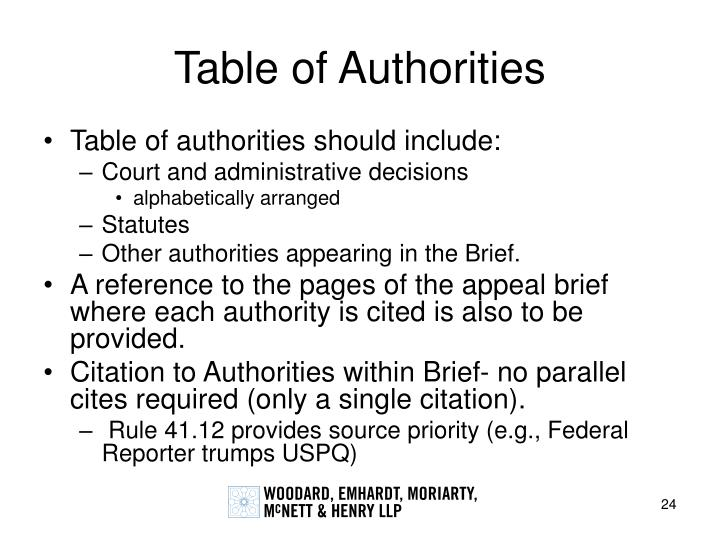Table of Authorities