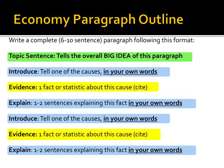 Economy Paragraph Outline