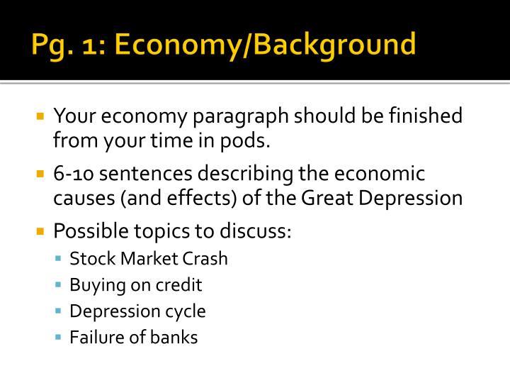 Pg. 1: Economy/Background