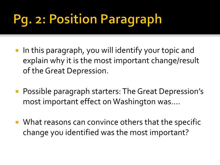 Pg. 2: Position Paragraph
