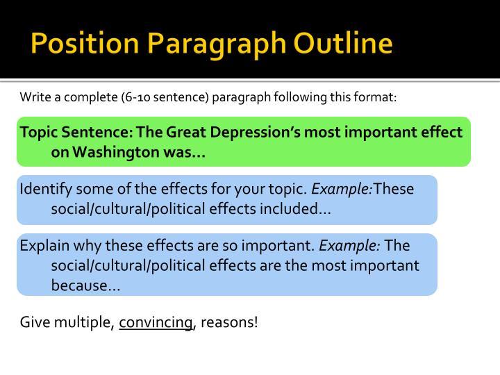 Position Paragraph Outline
