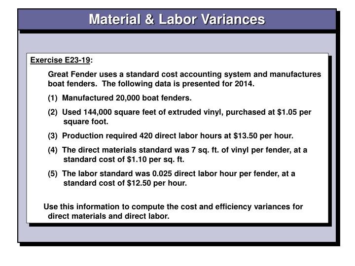 Material & Labor Variances