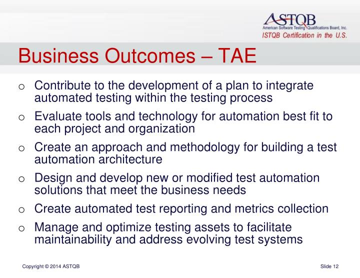 Business Outcomes – TAE