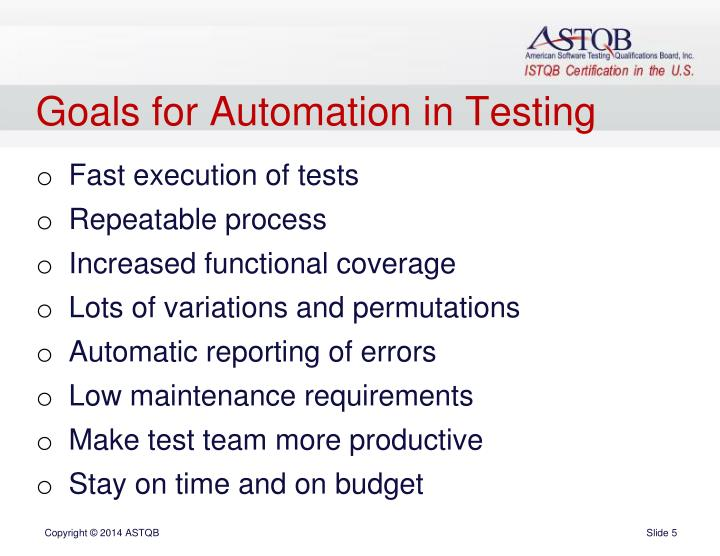 Goals for Automation in Testing