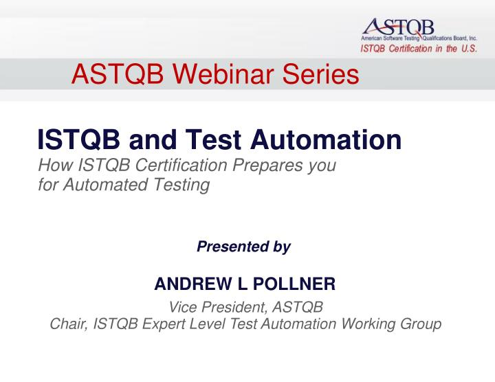 ASTQB Webinar Series
