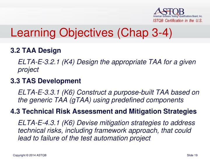 Learning Objectives (Chap 3-4)