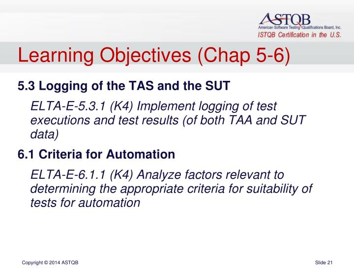 Learning Objectives (Chap 5-6)