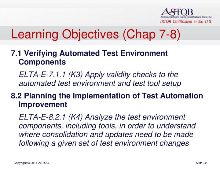 Learning Objectives (Chap 7-8)