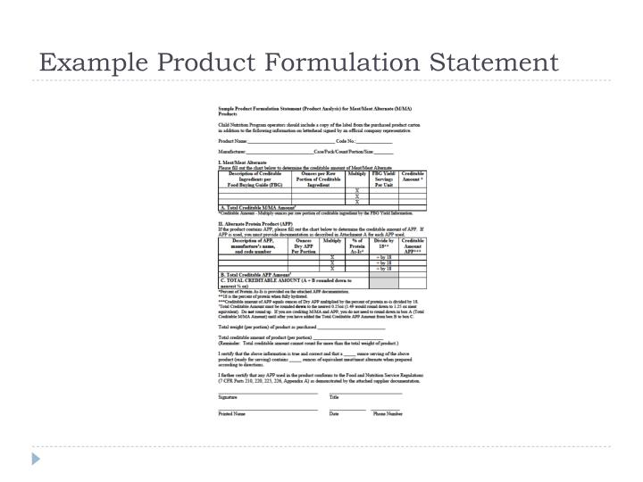Example Product Formulation Statement