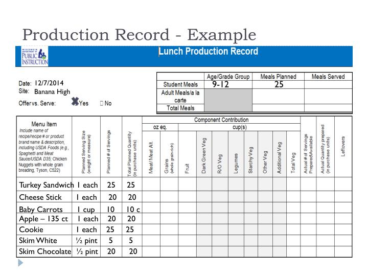 Production Record - Example