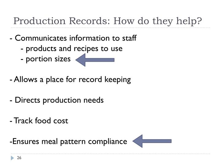Production Records: How do they help?
