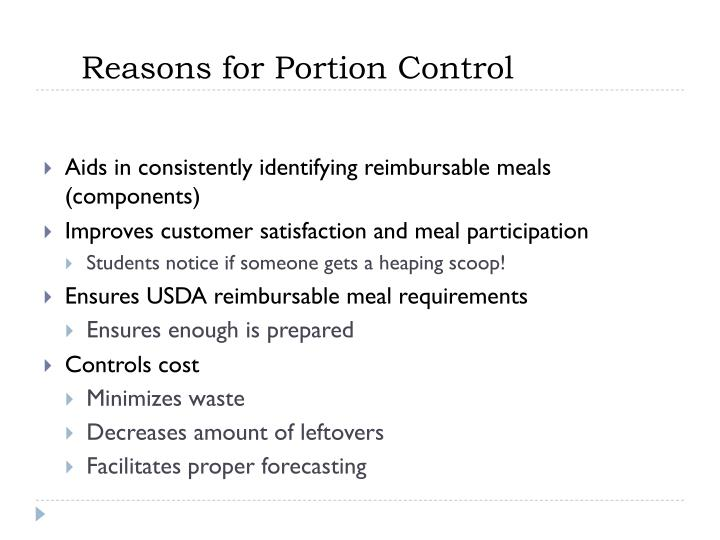 Reasons for Portion Control