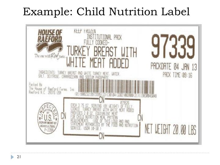 Example: Child Nutrition Label