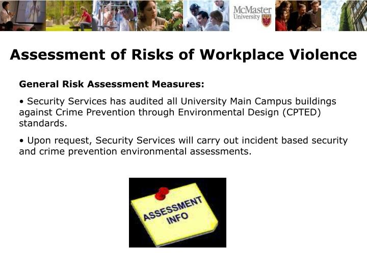 Assessment of Risks of Workplace Violence